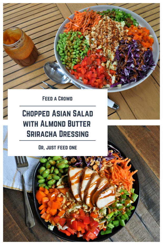 Chopped Asian Saladwith Almond Butter Sriracha Dressing