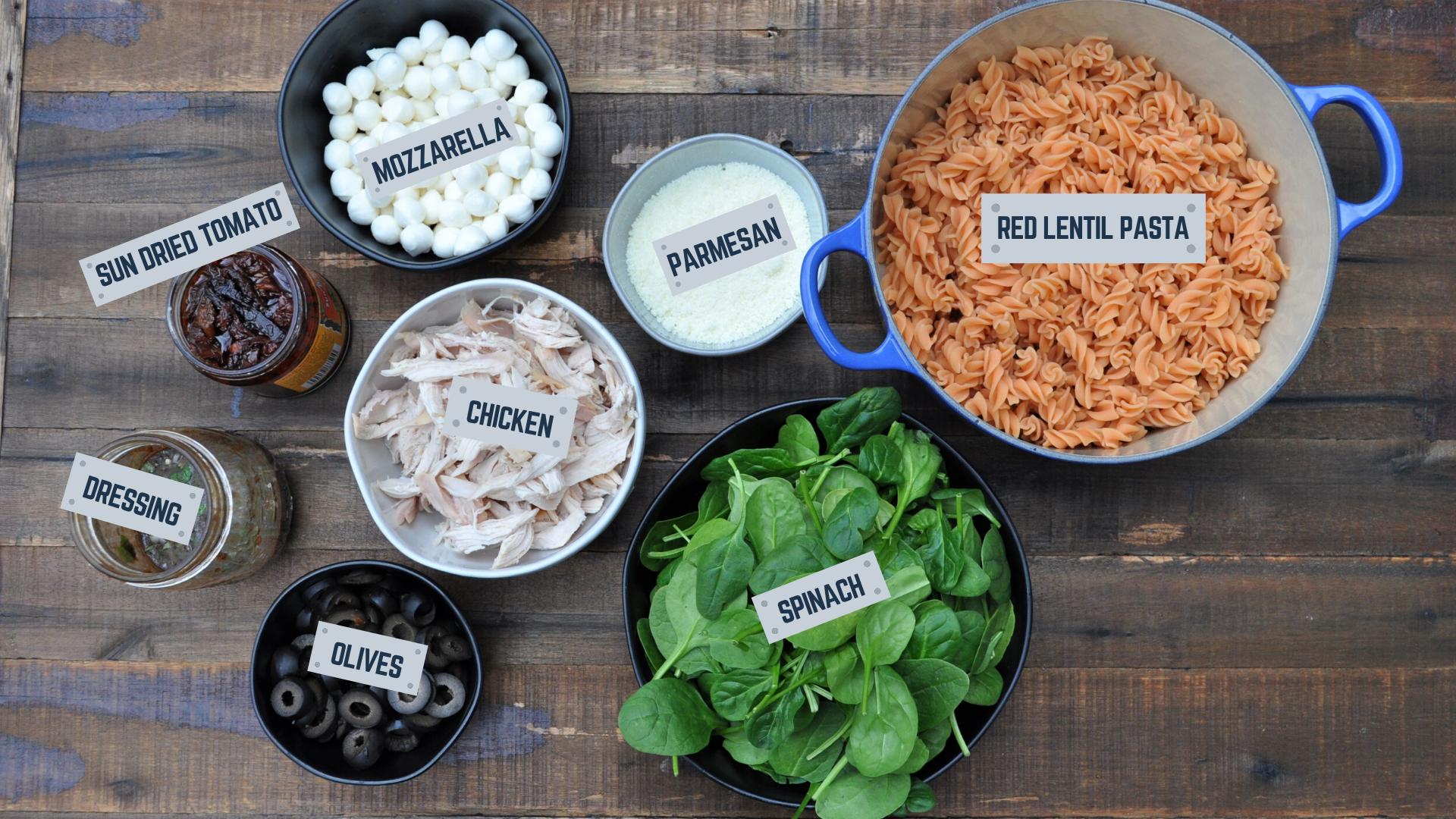 Pasta Salad Meal Prep Ingredients
